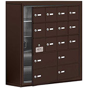 Cell Phone Locker with Access Panel 19158-16ZSK - Surface Mounted Keyed Locks 12A & 4B Doors, Bronze