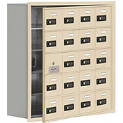 Cell Phone Locker with Access Panel 19158-20SRC - Recessed Mounted Combo Locks 20 A Doors, Sandstone