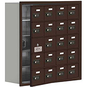 Cell Phone Locker with Access Panel 19158-20ZRC - Recessed Mounted, Combo Locks, 20 A Doors, Bronze