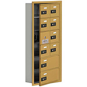 Cell Phone Locker with Access Panel 19165-10GRC - Recessed Mounted, Combo Locks, 8A & 2B Doors, Gold