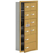Cell Phone Locker with Access Panel 19165-10GRK - Recessed Mounted, Keyed Locks, 8A & 2B Doors, Gold