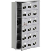 Cell Phone Locker with Access Panel 19165-18ARC - Recessed Mounted, Combo Locks 18 A Doors, Aluminum