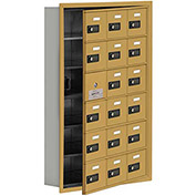 Cell Phone Locker with Access Panel 19165-18GRC - Recessed Mounted, Combo Locks, 18 A Doors, Gold