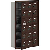 Cell Phone Locker with Access Panel 19165-18ZRC - Recessed Mounted, Combo Locks, 18 A Doors, Bronze