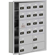 Cell Phone Locker with Access Panel 19165-20ARC - Recessed Mounted Combo Locks 16A&4B Doors Aluminum