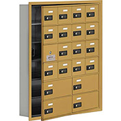 Cell Phone Locker with Access Panel 19165-20GRC - Recessed Mounted, Combo Locks 16A & 4B Doors, Gold