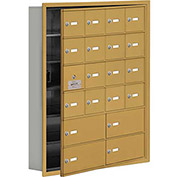 Cell Phone Locker with Access Panel 19165-20GRK - Recessed Mounted Keyed Locks, 16A & 4B Doors, Gold