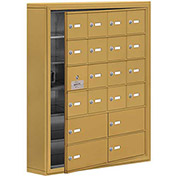 Cell Phone Locker with Access Panel 19165-20GSK - Surface Mounted, Keyed Locks, 16A & 4B Doors, Gold