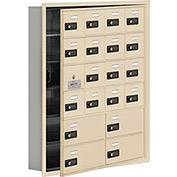 Cell Phone Locker with Access Panel 19165-20SRC - Recessed Mounted Combo Lock 16A&4B Doors Sandstone