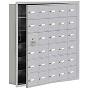 Cell Phone Locker with Access Panel 19165-30ARK - Recessed Mounted Keyed Locks, 30 A Doors, Aluminum