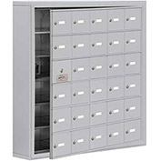 Cell Phone Locker with Access Panel 19165-30ASK - Surface Mounted, Keyed Locks, 30 A Doors, Aluminum
