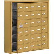 Cell Phone Locker with Access Panel 19165-30GSK - Surface Mounted, Keyed Locks, 30 A Doors, Gold