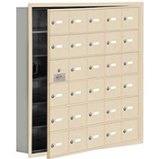 Cell Phone Locker with Access Panel 19165-30SRK - Recessed Mounted Keyed Locks 30 A Doors, Sandstone