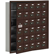 Cell Phone Locker with Access Panel 19165-30ZRC - Recessed Mounted, Combo Locks, 30 A Doors, Bronze