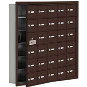 Cell Phone Locker with Access Panel 19165-30ZRK - Recessed Mounted, Keyed Locks, 30 A Doors, Bronze