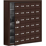 Cell Phone Locker with Access Panel 19165-30ZSK - Surface Mounted, Keyed Locks, 30 A Doors, Bronze