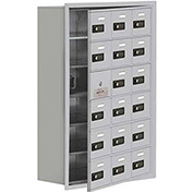 Cell Phone Locker with Access Panel 19168-18ARC - Recessed Mounted, Combo Locks 18 A Doors, Aluminum