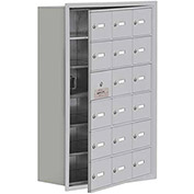 Cell Phone Locker with Access Panel 19168-18ARK - Recessed Mounted Keyed Locks, 18 A Doors, Aluminum