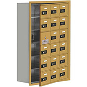 Cell Phone Locker with Access Panel 19168-18GRC - Recessed Mounted, Combo Locks, 18 A Doors, Gold