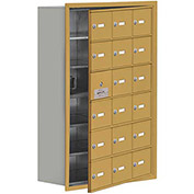 Cell Phone Locker with Access Panel 19168-18GRK - Recessed Mounted, Keyed Locks, 18 A Doors, Gold
