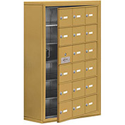 Cell Phone Locker with Access Panel 19168-18GSK - Surface Mounted, Keyed Locks, 18 A Doors, Gold