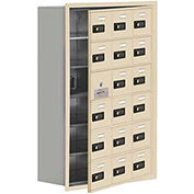 Cell Phone Locker with Access Panel 19168-18SRC - Recessed Mounted Combo Locks 18 A Doors, Sandstone