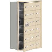 Cell Phone Locker with Access Panel 19168-18SRK - Recessed Mounted Keyed Locks 18 A Doors, Sandstone