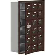 Cell Phone Locker with Access Panel 19168-18ZRC - Recessed Mounted, Combo Locks, 18 A Doors, Bronze