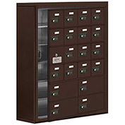 Cell Phone Locker with Access Panel 19168-20ZSC - Surface Mounted Combo Locks 16A & 4B Doors, Bronze