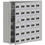 Cell Phone Locker with Access Panel 19168-30ARC - Recessed Mounted, Combo Locks 30 A Doors, Aluminum