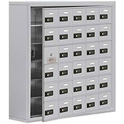 Cell Phone Locker with Access Panel 19168-30ASC - Surface Mounted, Combo Locks, 30 A Doors, Aluminum