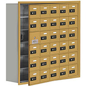 Cell Phone Locker with Access Panel 19168-30GRC - Recessed Mounted, Combo Locks, 30 A Doors, Gold
