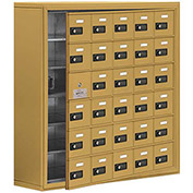Cell Phone Locker with Access Panel 19168-30GSC - Surface Mounted, Combo Locks, 30 A Doors, Gold
