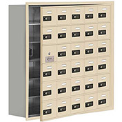 Cell Phone Locker with Access Panel 19168-30SRC - Recessed Mounted Combo Locks 30 A Doors, Sandstone