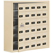 Cell Phone Locker with Access Panel 19168-30SSC - Surface Mounted, Combo Locks 30 A Doors, Sandstone