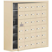 Cell Phone Locker with Access Panel 19168-30SSK - Surface Mounted Keyed Locks, 30 A Doors, Sandstone