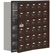 Cell Phone Locker with Access Panel 19168-30ZRC - Recessed Mounted, Combo Locks, 30 A Doors, Bronze