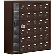 Cell Phone Locker with Access Panel 19168-30ZSC - Surface Mounted, Combo Locks, 30 A Doors, Bronze