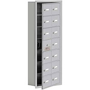 Cell Phone Locker with Access Panel 19175-14ARK - Recessed Mounted Keyed Locks, 14 A Doors, Aluminum