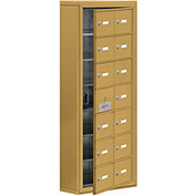 Cell Phone Locker with Access Panel 19175-14GSK - Surface Mounted, Keyed Locks, 14 A Doors, Gold
