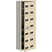 Cell Phone Locker with Access Panel 19175-14SRC - Recessed Mounted Combo Locks 14 A Doors, Sandstone