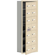 Cell Phone Locker with Access Panel 19175-14SRK - Recessed Mounted Keyed Locks 14 A Doors, Sandstone