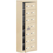 Cell Phone Locker with Access Panel 19175-14SSK - Surface Mounted Keyed Locks, 14 A Doors, Sandstone