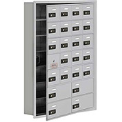 Cell Phone Locker with Access Panel 19175-24ARC - Recessed Mounted Combo Locks 20A&4B Doors Aluminum