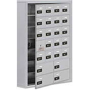 Cell Phone Locker with Access Panel 19175-24ASC - Surface Mounted Combo Locks 20A&4B Doors Aluminum