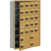 Cell Phone Locker with Access Panel 19175-24GRC - Recessed Mounted, Combo Locks 20A & 4B Doors, Gold