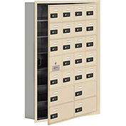 Cell Phone Locker with Access Panel 19175-24SRC - Recessed Mounted Combo Lock 20A&4B Doors Sandstone