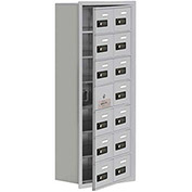 Cell Phone Locker with Access Panel 19178-14ARC - Recessed Mounted, Combo Locks 14 A Doors, Aluminum