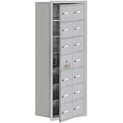 Cell Phone Locker with Access Panel 19178-14ARK - Recessed Mounted Keyed Locks, 14 A Doors, Aluminum