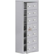 Cell Phone Locker with Access Panel 19178-14ASK - Surface Mounted, Keyed Locks, 14 A Doors, Aluminum